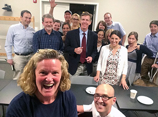 Alumni Council President Sue Barron '86 takes a #selfie that includes Mr. Scheibe & Mr. Moore after tonight's meeting in the MCC.